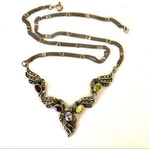 925 silver marcasite vintage necklace
